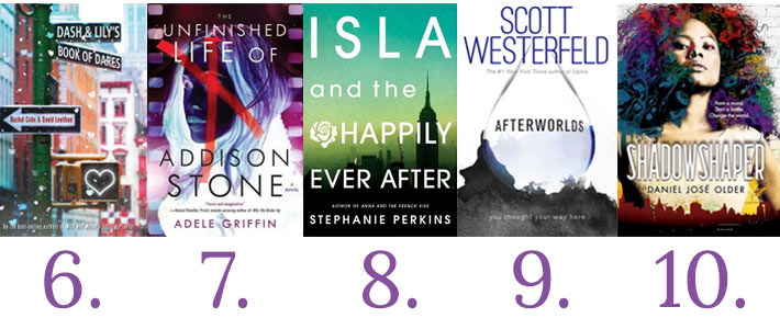 Covers of the last five books